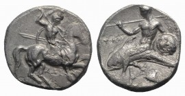 Southern Apulia, Tarentum, c. 332-302 BC. AR Nomos (19mm, 7.61g, 2h). Warrior, holding shield and two spears, preparing to cast a third, on horseback ...