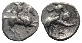 Southern Apulia, Tarentum, c. 332-302 BC. AR Nomos (20mm, 7.66g, 6h). Warrior, holding shield and two spears, preparing to cast a third, on horseback ...