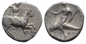 Southern Apulia, Tarentum, c. 332-302 BC. AR Nomos (19mm, 7.89g, 9h). Warrior on horseback r., holding shield, two lances, and spear; Ξ to l., API bel...