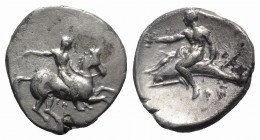 Southern Apulia, Tarentum, c. 320-315 BC. AR Nomos (22mm, 7.71g, 11h). Rider on horse galloping r., using whip; ΣΑ below. R/ Dolphin rider l., holding...