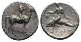 Southern Apulia, Tarentum, c. 320-280 BC. AR Nomos (22mm, 7.47g, 1h). Youth on horseback r., crowning horse with wreath. R/ Phalanthos, holding grape ...