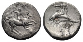 Southern Apulia, Tarentum, c. 302-280 BC. AR Nomos (22mm, 7.70g, 9h). Warrior on horseback r., holding shield and two spears, preparing to cast a thir...