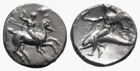 Southern Apulia, Tarentum, c. 320-280 BC. AR Nomos (21mm, 7.83g, 10h). Warrior on horseback r., holding shield and two spears, preparing to cast a thi...
