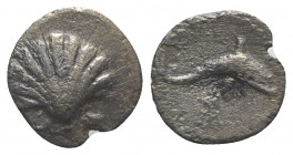 Southern Apulia, Tarentum, c. 280-228 BC. AR Litra (9mm, 0.40g, 6h). Cockle shell. R/ Dolphin l.; tripod below. Vlasto 1530; HNItaly 1073; SNG ANS 150...