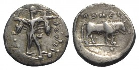 Northern Lucania, Poseidonia, c. 470-445 BC. AR Stater (20mm, 6.99g, 9h). Poseidon advancing r., wielding trident overhead. R/ Bull standing r. within...