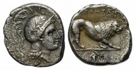 Northern Lucania, Velia, c. 300-280 BC. AR Didrachm (20mm, 6.67g, 3h). Head of Athena r., wearing crested Attic helmet decorated with wreath. R/ Lion ...