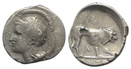 Northern Lucania, Velia, c. 300 BC. AR Didrachm (21mm, 7.45g, 9h). Head of Athena l., wearing crested Attic helmet decorated with griffin; A behind. R...