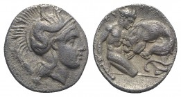 Southern Lucania, Herakleia, c. 433-330 BC. AR Diobol (11mm, 1.11g, 6h). Head of Athena r., wearing crested helmet, decorated with hippocamp. R/ Herak...