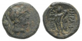 Southern Lucania, Herakleia, 3rd-1st centuries BC. Æ (12mm, 2.37g, 6h). Helmeted head of Athena r.; pelta to l. R/ Herakles standing r., holding phial...