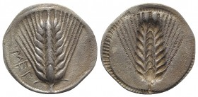 Southern Lucania, Metapontion, c. 540-510 BC. AR Stater (29.5mm, 7.12g, 12h). Barley ear of eight grains. R/ Incuse barley ear of eight grains. HNItal...