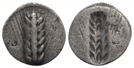 Southern Lucania, Metapontion, c. 540-510 BC. AR Stater (25mm, 5.53g, 12h). Barley ear. R/ Incuse barley ear. Cf. Noe 175; HNItaly 1482. Good Fine