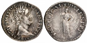 Silver Denarius Coin of Domitian of Roman Empire.