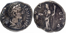 Silver Denarius Coin of Diva Faustina I Senior of Roman Empire.