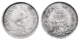 India. Baroda. Sayaji Rao III. 2 annas. VS 1952 (1895). (Km-Y33.a). Ag. 1,40 g. Scarce. Choice VF. Est...35,00.