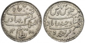 India. Hyderabad. Mir Mahbud Ali Khan II. 1 rupia. 1318 H / 34. (Km-Y32). Ag. 11,08 g. Almost XF. Est...35,00.