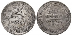 India. Kutch. Khengarji III. 2 1/2 kori. 1895 (VS 1951). (Km-Y36.1). Ag. 6,91 g. Almost XF. Est...20,00.