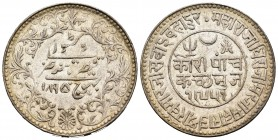 India. Kutch. Khengarji III. 5 kori. 1895 (VS 1951). (Km-Y37.5). Ag. 13,88 g. Almost XF. Est...20,00.