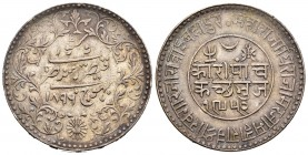 India. Kutch. Khengarji III. 5 kori. 1896 (VS 1952). (Km-Y37.5). Ag. 13,86 g. Toned. Almost XF. Est...20,00.