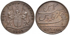 India. Madras Presidency. 20 cash. 1803. (Km-321). Ae. 12,89 g. Golpecitos en reverso. Almost XF. Est...30,00.