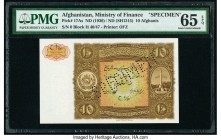 Afghanistan Ministry of Finance 10 Afghanis ND (1936) / ND (SH1315) Pick 17As Specimen PMG Gem Uncirculated 65 EPQ. Roulette Specimen.  HID09801242017...