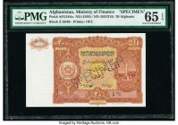 Afghanistan Ministry of Finance 20 Afghanis ND (1936) / ND (SH1315) Pick 18As Specimen PMG Gem Uncirculated 65 EPQ. Roulette Specimen.  HID09801242017...