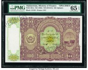 Afghanistan Ministry of Finance 100 Afghanis ND (1936) / SH1315 Pick 20As Specimen PMG Gem Uncirculated 65 EPQ. Roulette Specimen.  HID09801242017  © ...