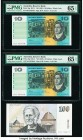 Australia Australia Reserve Bank 10 Dollars ND (1991) Pick 45g R313 Two Consecutive Examples PMG Gem Uncirculated 65 EPQ; 100 Dollars ND (1985) Pick 4...