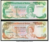 Belize Central Bank 1; 20 Dollars 1.1.1987; 1.1.1986 Pick 46c; 49a Two Examples Very Fine.   HID09801242017  © 2020 Heritage Auctions | All Rights Res...