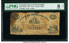 Colombia Banco de Barranquilla 1 Peso 1889 Pick S231b PMG Very Good 8 Net. Paper damage.  HID09801242017  © 2020 Heritage Auctions | All Rights Reserv...
