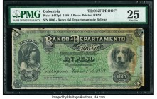 Colombia Banco del Departamento de Bolivar 1 Peso 1.3.1888 Pick S422p1 Front Proof PMG Very Fine 25. Stamped Specimen; edge damage; stained.  HID09801...