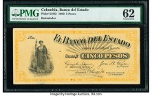Colombia Banco del Estado 5 Pesos 1900 Pick S505r Remainder PMG Uncirculated 62. Small holes.  HID09801242017  © 2020 Heritage Auctions | All Rights R...