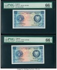 Cyprus Central Bank of Cyprus 250 Mils 1.8.1976 Pick 41c Two Consecutive Examples PMG Gem Uncirculated 66 EPQ.   HID09801242017  © 2020 Heritage Aucti...