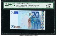 European Union Central Bank, Greece 20 Euro 2002 Pick 3y PMG Superb Gem Unc 67 EPQ.   HID09801242017  © 2020 Heritage Auctions | All Rights Reserved