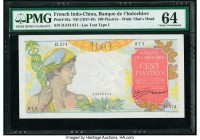 French Indochina Banque de l'Indo-Chine 100 Piastres ND (1947-49) Pick 82a PMG Choice Uncirculated 64.   HID09801242017  © 2020 Heritage Auctions | Al...