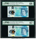 Great Britain Bank of England 5 Pounds 2015 Pick 394 Two Polymer Examples PMG Superb Gem Unc 68 EPQ; Superb Gem Unc 67 EPQ.   HID09801242017  © 2020 H...