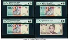 Solid Serial Numbers Indonesia Bank Indonesia 1000 (3); 10,000 Rupiah 2001 (3); 1999 Pick 141b (3); 137b Four Solid 1 Examples PMG Gem Uncirculated 66...