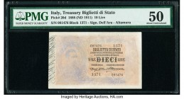 Italy Biglietto Di Stato 10 Lire 1888 (ND 1911) Pick 20d PMG About Uncirculated 50. Discoloration.  HID09801242017  © 2020 Heritage Auctions | All Rig...