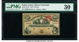 Italy Banca Nazionale nel Regno d'Italia 10 Lire 1872 Pick S737 PMG Very Fine 30.   HID09801242017  © 2020 Heritage Auctions | All Rights Reserved