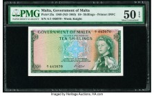 Malta Government of Malta 10 Shillings 1949 (ND 1963) Pick 25a PMG About Uncirculated 50 EPQ.   HID09801242017  © 2020 Heritage Auctions | All Rights ...