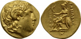KINGS OF THRACE (Macedonian). Lysimachos (305-281 BC). GOLD Stater. Uncertain mint, possibly Ephesos or Kalchedon.