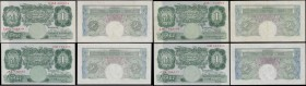 Bank of England 1 Pounds Green Britannia medallion examples circa 1930-40's (4) comprising a Catterns example B225 serial number J58 733105 in about V...
