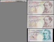 Bank of England 5 and 10 Pounds Kentfield & Lowther FIRST RUN LOW matching serial numbers 997 (3) consisting of 5 Pounds Lowther B380 issue 1999 prefi...