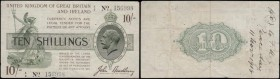 Ten Shillings Bradbury Third Issue T18 Dash in No. Black serial number and single prefix A variety recorded only 1 to 40 issue 1918 serial number A/3 ...