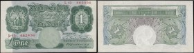 One Pound Catterns B225 Green Britannia medallion issue 1930 serial number L13 462436, a pleasing and eye-catching GEF - about UNC with only 1 faint c...