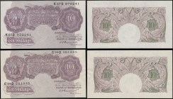 Ten Shillings Peppiatt Second Period World War II Emergency B251 Mauve Britannia medallion issues 1940 (2) serial numbers C94D 261448, EF and K67D 970...