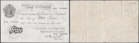 Five Pounds Peppiatt White Note thick paper B255 dated 19th November 1945 K81 074686, GVF looks better