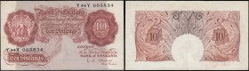 Ten Shillings O'Brien Offset (misalignment) ERROR B271 (BY E2d(iii)) Red-brown Britannia medallion issue 1955 serial number Y44Y 005834, VF. Parts of ...