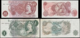 Bank of England Hollom QE2 portrait & seated Britannia 1963 issues (2) comprising a 10 Shillings B296 Red-brown Replacement issue serial number M45 23...