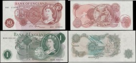 Bank of England Fforde QE2 portrait & seated Britannia Replacement issues 1967 (2) comprising a 10 Shillings B311 Red-brown and a very LAST RUN serial...