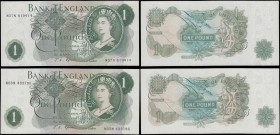 One Pounds Fforde QE2 portrait & seated Britannia Green G (Goebel) Reverse Replacement issues 1967 (2) comprising B304 serial number M37N 819414 and B...